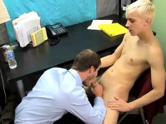 Gay orgy Patrick is leaned over the desk with his assistant'