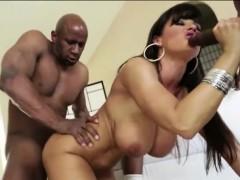 Buxom latina Bridgette B unleashes huge black cock and fucks
