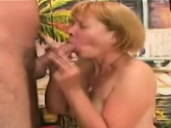 Filthy 60yo lady kneels to delight a hefty meatbone