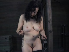 Shocking prod on bounded chick's tits and hairless cum-hole