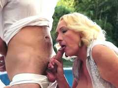Blonde Granny Gives Poolside Blowjob