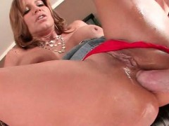 Curvy MILF gets oiled up and ass banged hard