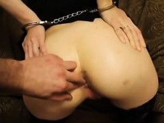 Blind fold that is handcuffed ass Fucked subwoofer slut