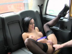 Sexy big boobs babe fucked in the taxi for a free fare