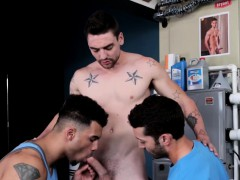 Three awesome guys shoot their massive loads of cum on Silas