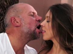Grandpa helps young slut loosen up