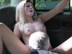 Slim blonde gets fucked in fake taxi