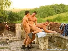 Picnik with muscled studs ends up as gay orgy