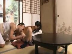 Delightful Oriental teen has an older man plowing her hot h