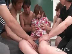 Hot asian redhead gets assets teased hard in group sex