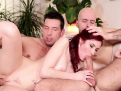 Redhead Babe Katie Invites Marek And Alex To A Hot Threesome