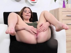 Beautiful sweetie is pissing and pleasuring shaven slit