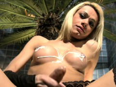 Feminine Shemale Beauty Pours Milk On Her Tits And Long Cock