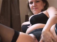 Amateur Mature Masturbation in Black Stockings