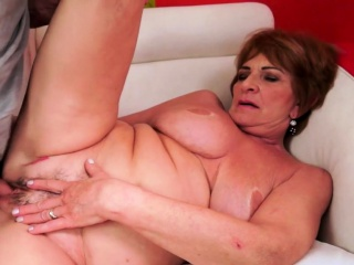 Busty grandma jizzed on after fucking hard
