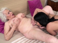 Babe Aysha Licks Busty Grannys Hairy Pussy And Eats Her Ass