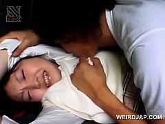 Asian schoolgirl turned into sex slave gets fucked in a van