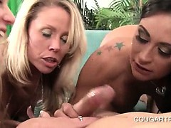 Blonde and brunette matures sharing penis in hot 4some