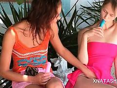 Lesbos Natasha Shy and Beata sucking sex toys and licking