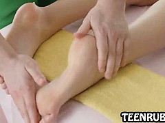 Foxy blonde teenage babe getting a steamy massage