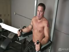 Cum join Billy in the gym working on himself in more ways