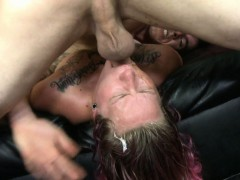 Gloria gets used by two studs who shove a dildo up her ass