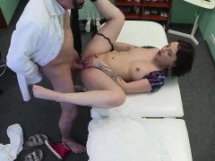 Brunette gets fucked and cummed on by her doctor