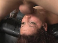 Brunette Flat On Her Back Getting Face Fucked And Plunged