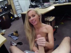 Super tight blonde bimbo tries to sell her car sells herself