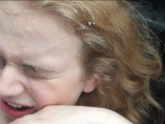Sweet blonde teen Nishe fucked and facialized in the car