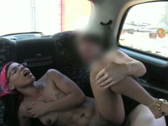 Very tight black chick fucked with fake driver in the cab