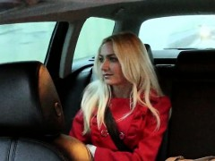 Amateur customer in red coat ripped by the driver