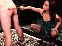 Mistress in stockings teasing hard pecker