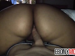 Thick Ebony Chick Riding Reverse Cowgirl