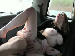 Big natural tits amateur passenger gets nailed in the cab