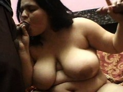 Latina BBW services two cocks with blowjobs