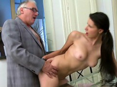 Sweetheart is delighting mature teacher with her beaver