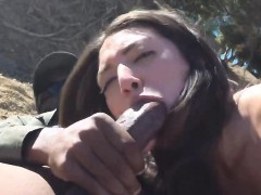 Hot Latina chick gets her holes inspected at the border