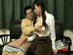 Young Asian hottie deepthroats a hard cock and gets her hai