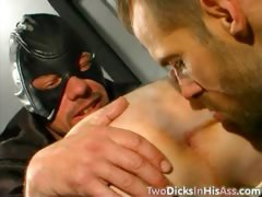 Gay leather orgy with lots of double anal penetration