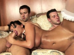 Hot Euro slut enjoys getting fucked by two cocks