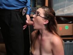 Teen shoplifter Kat Monroe got a mouthful of cock