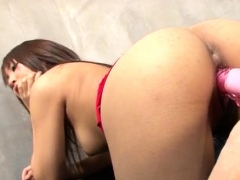 Aya young Asian plays with toy cocks on cam