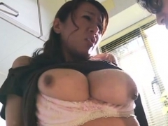 Obese asian mature sucks gives tit fuck and rides dick