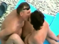 Mature husband anf wife try sex on beach