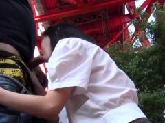Japanese teen sucks cock