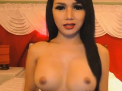 Gorgeous Busty Shemale Wanks Her Hard Cock