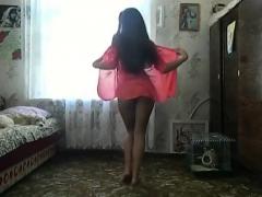 Gentle Teen Striptease From White Lingerie