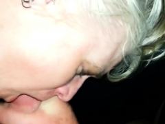 Wife sucking some guys cock dry as another finger fucks her