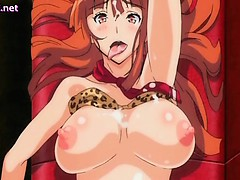 Nervous anime girl gets bombed